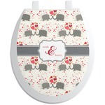 Elephants in Love Toilet Seat Decal (Personalized)