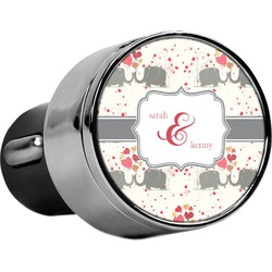 Elephants in Love USB Car Charger (Personalized)