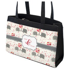 Elephants in Love Zippered Everyday Tote (Personalized)