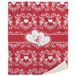 Heart Damask Sherpa Throw Blanket (Personalized)