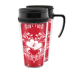 Heart Damask Acrylic Travel Mugs (Personalized)