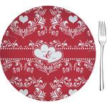 "Heart Damask Glass Appetizer / Dessert Plates 8"" - Single or Set (Personalized)"