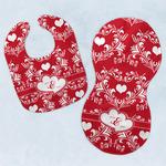 Heart Damask Baby Bib & Burp Set w/ Couple's Names
