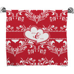 Heart Damask Full Print Bath Towel (Personalized)