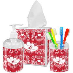 Heart Damask Bathroom Accessories Set (Personalized)