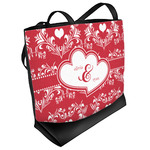 Heart Damask Beach Tote Bag (Personalized)