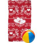 Heart Damask Beach Towel (Personalized)