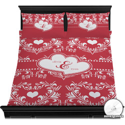 Heart Damask Duvet Cover Set (Personalized)