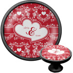 Heart Damask Cabinet Knob (Black) (Personalized)