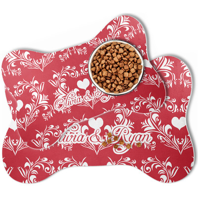 Heart Damask Bone Shaped Dog Food Mat (Personalized)