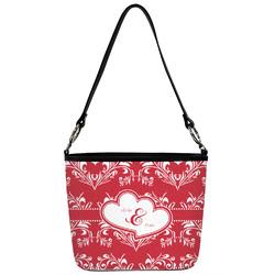 Heart Damask Bucket Bag w/ Genuine Leather Trim (Personalized)