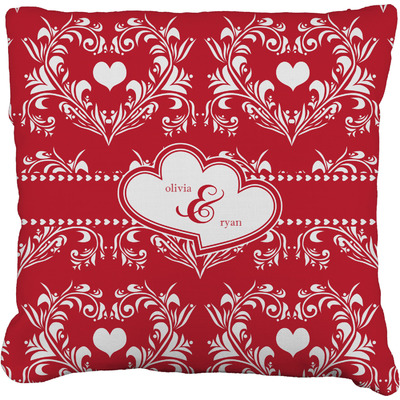 Heart Damask Faux-Linen Throw Pillow (Personalized)