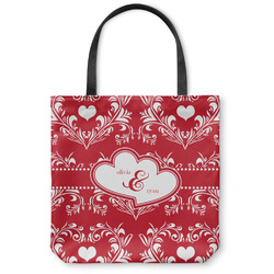 Heart Damask Canvas Tote Bag (Personalized)
