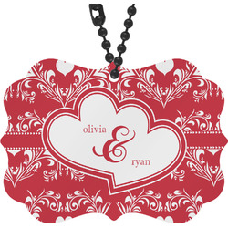 Heart Damask Rear View Mirror Decor (Personalized)