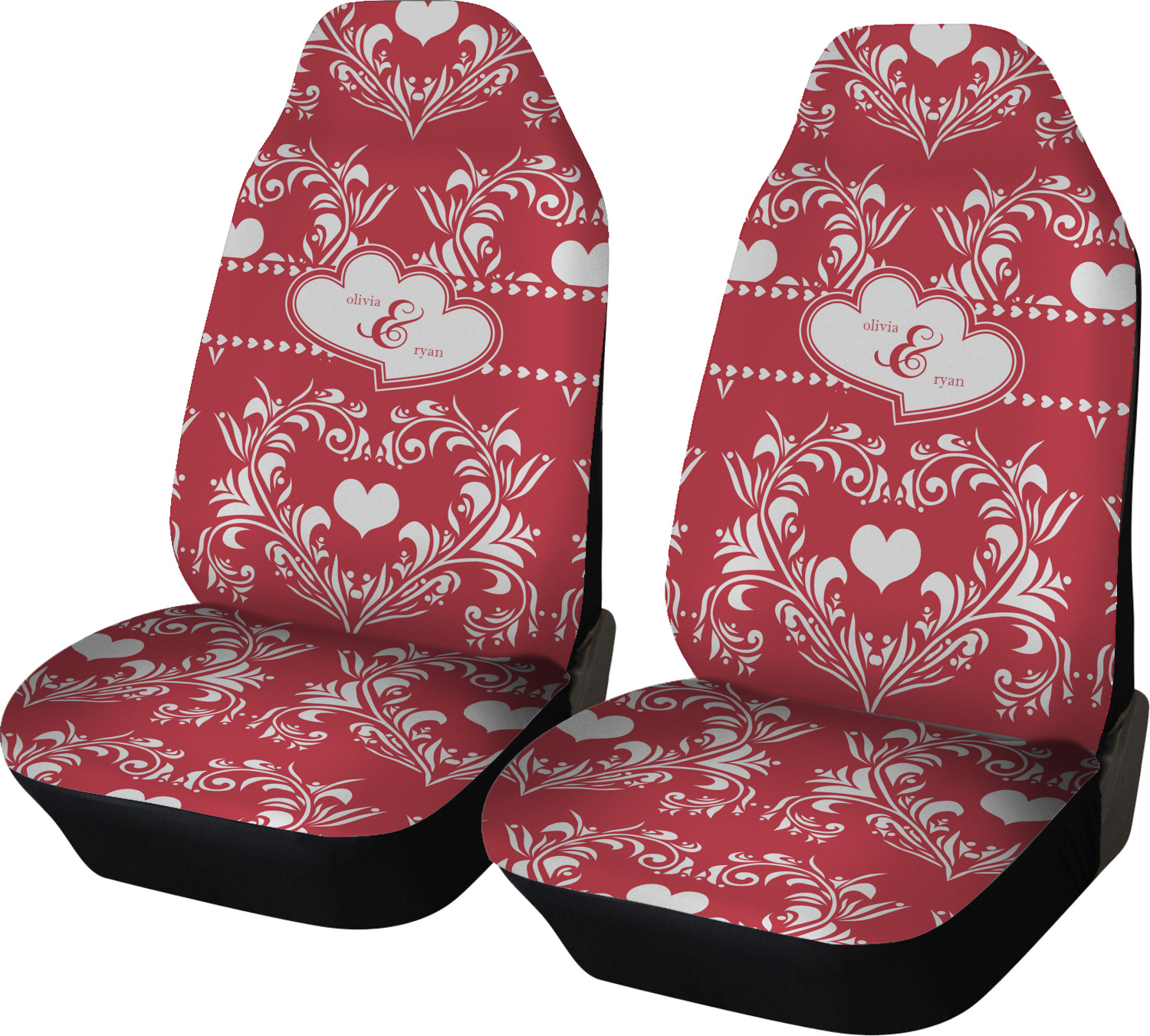 Heart Damask Car Seat Covers Set Of Two Personalized