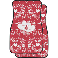Heart Damask Car Floor Mats (Front Seat) (Personalized)