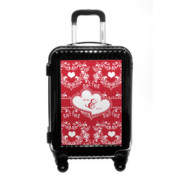 Heart Damask Carry On Hard Shell Suitcase (Personalized)
