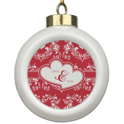 Heart Damask Ceramic Ball Ornament (Personalized)
