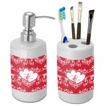 Heart Damask Bathroom Accessories Set (Ceramic) (Personalized)