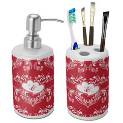 Heart Damask Ceramic Bathroom Accessories Set (Personalized)