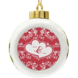 Heart Damask Ceramic Ball Ornament (Personalized)