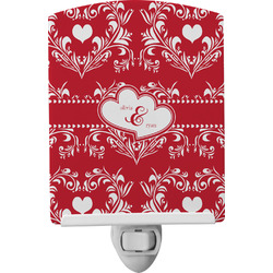 Heart Damask Ceramic Night Light (Personalized)