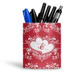 Heart Damask Ceramic Pen Holder