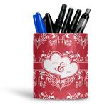 Heart Damask Ceramic Pen Holder