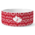 Heart Damask Ceramic Dog Bowl (Personalized)