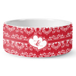 Heart Damask Ceramic Dog Bowl (Personalized)