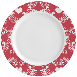 Heart Damask Ceramic Dinner Plates (Set of 4) (Personalized)