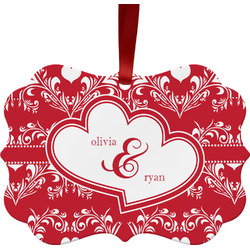 Heart Damask Ornament (Personalized)