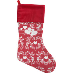 Heart Damask Christmas Stocking (Personalized)