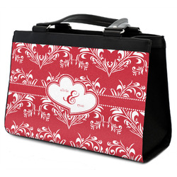 Heart Damask Classic Tote Purse w/ Leather Trim (Personalized)