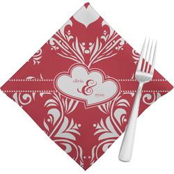 Heart Damask Cloth Napkins (Set of 4) (Personalized)