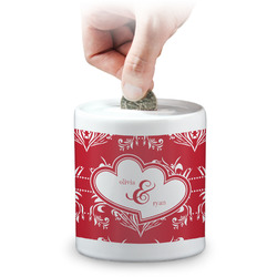 Heart Damask Coin Bank (Personalized)