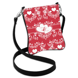 Heart Damask Cross Body Bag - 2 Sizes (Personalized)