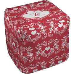 """Heart Damask Cube Pouf Ottoman - 18"""" (Personalized)"""