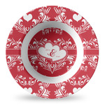 Heart Damask Plastic Bowl - Microwave Safe - Composite Polymer (Personalized)