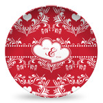 Heart Damask Microwave Safe Plastic Plate - Composite Polymer (Personalized)