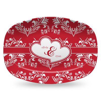 Heart Damask Plastic Platter - Microwave & Oven Safe Composite Polymer (Personalized)