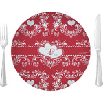 """Heart Damask Glass Lunch / Dinner Plates 10"""" - Single or Set (Personalized)"""
