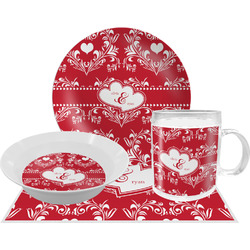 Heart Damask Dinner Set - 4 Pc (Personalized)