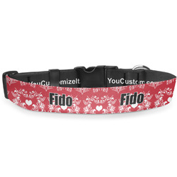 Heart Damask Deluxe Dog Collar (Personalized)