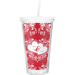 Heart Damask Double Wall Tumbler with Straw (Personalized)