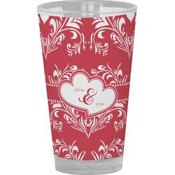 Heart Damask Drinking / Pint Glass (Personalized)