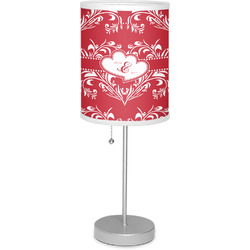 """Heart Damask 7"""" Drum Lamp with Shade (Personalized)"""
