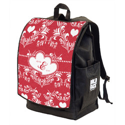 Heart Damask Backpack w/ Front Flap  (Personalized)