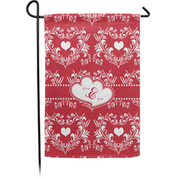 Heart Damask Garden Flag - Single or Double Sided (Personalized)