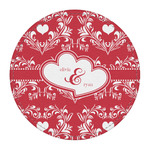 Heart Damask Round Desk Weight - Genuine Leather  (Personalized)